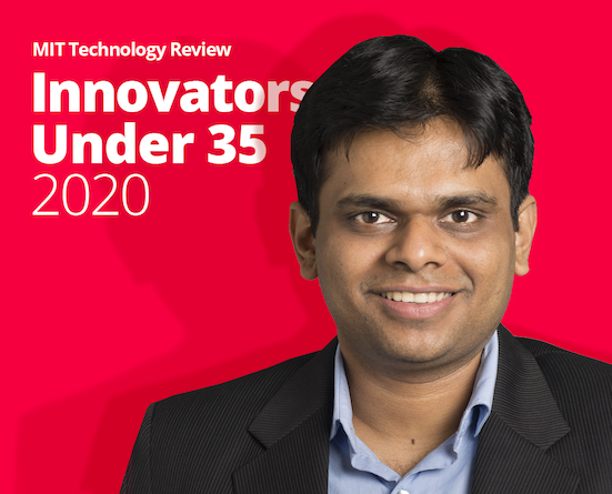 Professor Viswanathan's photo against a red background with the words Innovators Under 35
